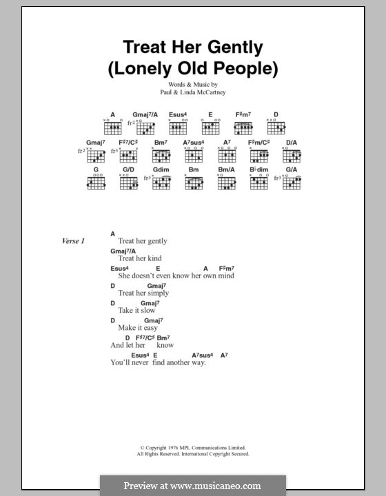 Treat Her Gently / Lonely Old People: Text und Akkorde by Linda McCartney, Paul McCartney