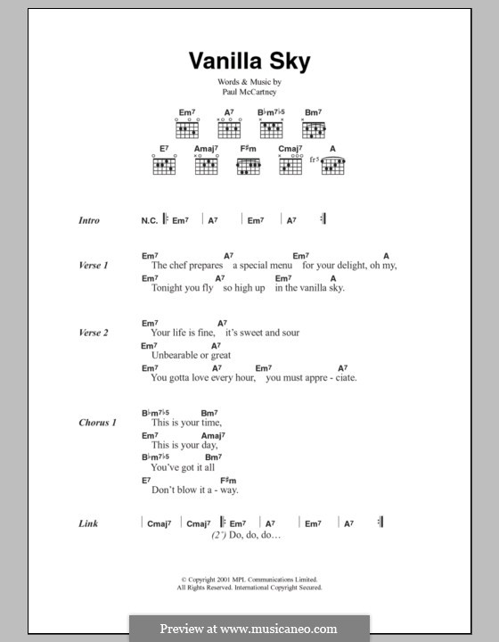 Vanilla Sky: Text und Akkorde by Paul McCartney