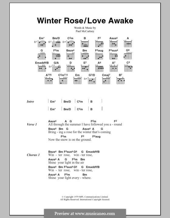 Winter Rose/Love Awake: Text und Akkorde by Paul McCartney