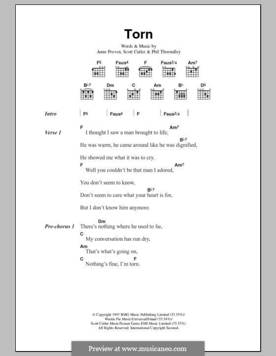 Torn (Natalie Imbruglia): Texte und Akkorde by Anne Preven, Phil Thornalley, Scott Cutler