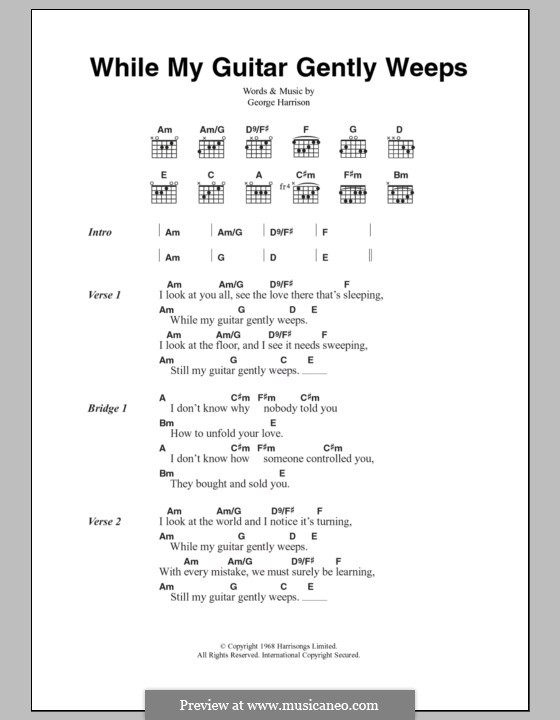 While My Guitar Gently Weeps (The Beatles): Text und Akkorde by George Harrison