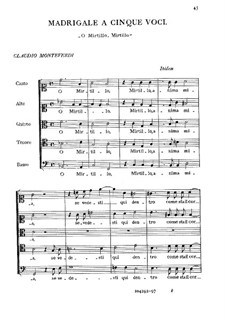 Heft 5 (für fünf Stimmen), SV 94–106: O Mirtillo anima mia by Claudio Monteverdi