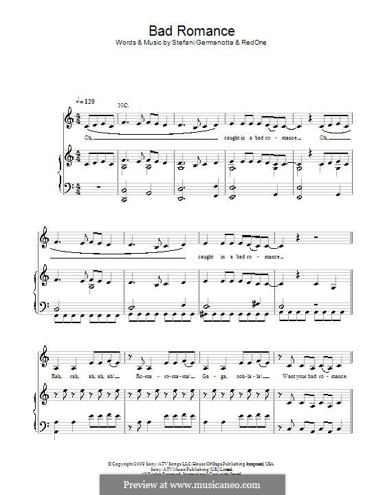 Bad Romance (Lady Gaga): Für Stimme und Klavier (oder Gitarre) by RedOne, Stefani Germanotta