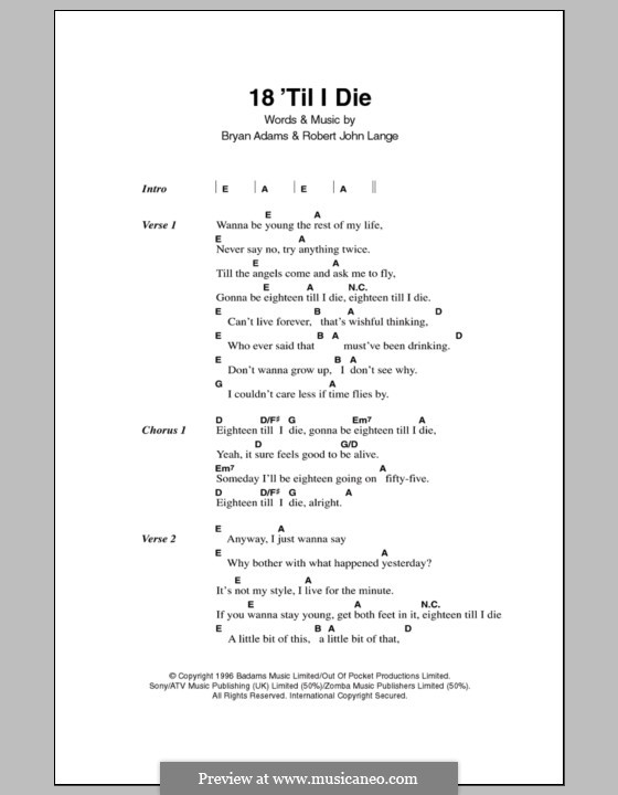 18 'Til I Die: Texte und Akkorde by Bryan Adams, Robert John Lange