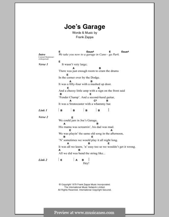 Joe's Garage: Texte und Akkorde by Frank Zappa