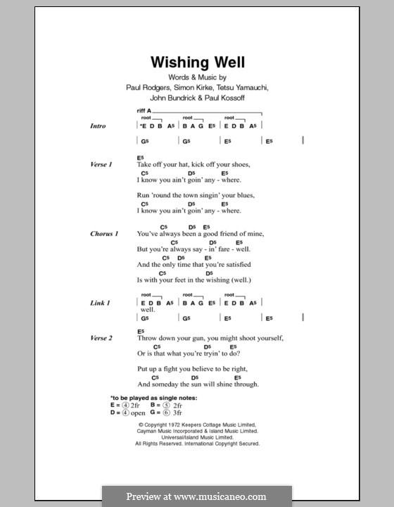 Wishing Well (Free): Text und Akkorde by John Bundrick, Paul Kossoff, Paul Rodgers, Simon Kirke, Tetsu Yamauchi