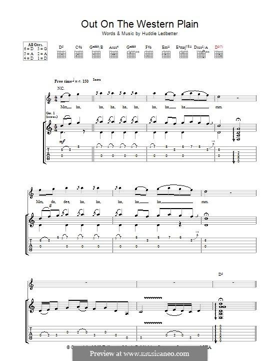 Out on the Western Plains (Rory Gallagher): Für Gitarre mit Tabulatur by Huddie Ledbetter