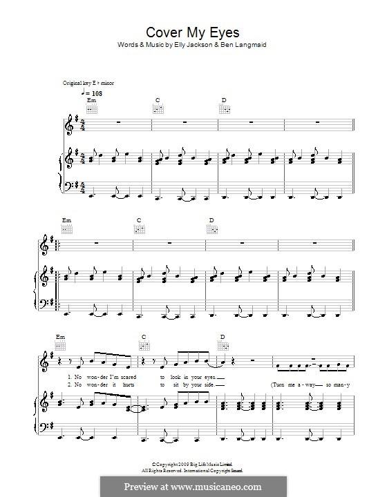 Cover My Eyes (La Roux): Für Stimme und Klavier (oder Gitarre) by Ben Langmaid, Elly Jackson