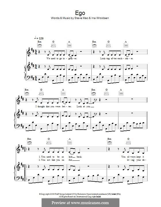 Ego (The Saturdays): Für Stimme und Klavier (oder Gitarre) by Ina Wroldsen, Steve Mac