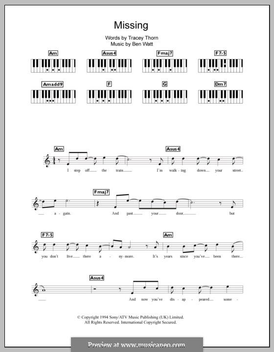 Missing (Everything But the Girl): Für Keyboard by Benjamin Watt