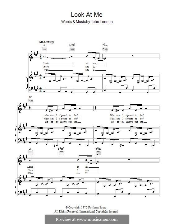 Look at Me: Für Stimme und Klavier (oder Gitarre) by John Lennon