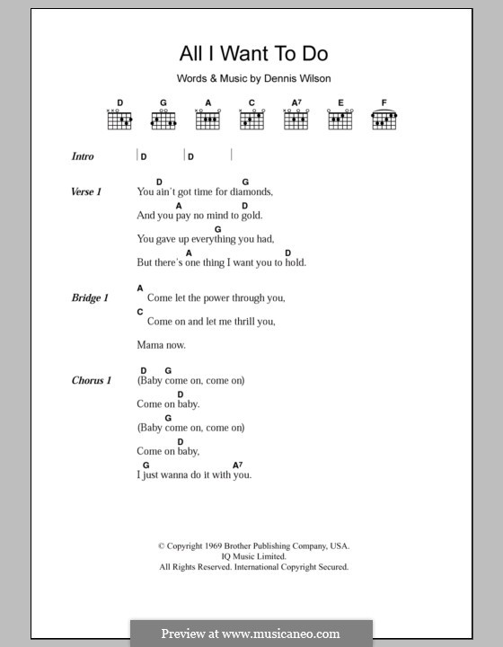 All I Want To Do (The Beach Boys): Texte und Akkorde by Dennis Wilson