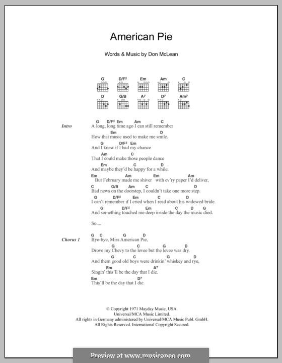 American Pie (Madonna): Text und Akkorde by Don McLean