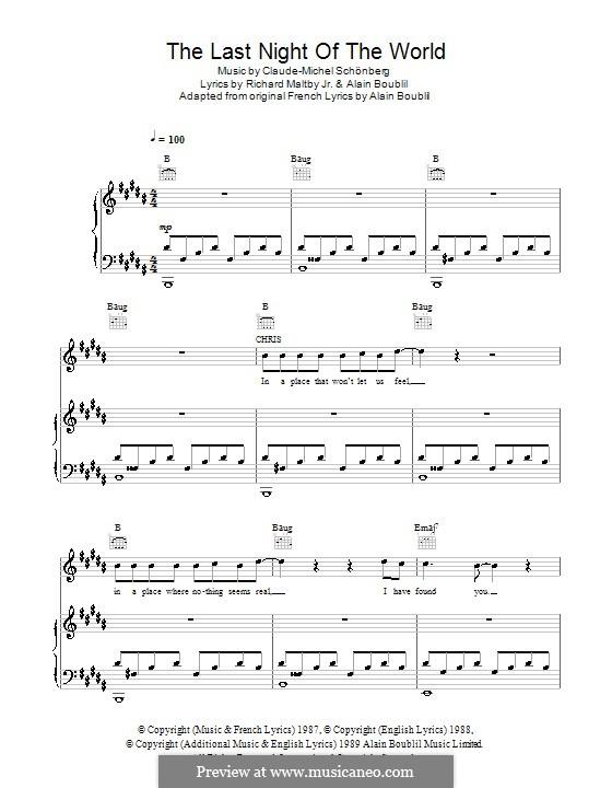 The Last Night of the World: Für Stimme und Klavier (oder Gitarre) by Claude-Michel Schönberg