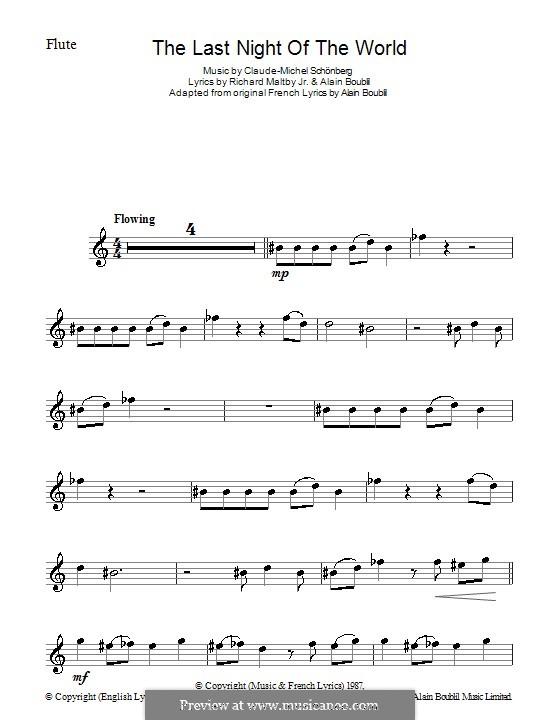 The Last Night of the World: Für Flöte by Claude-Michel Schönberg