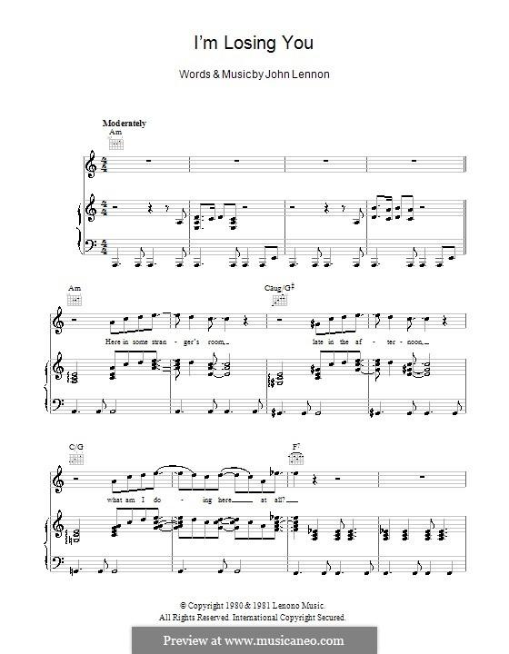 I'm Losing You: Für Stimme und Klavier (oder Gitarre) by John Lennon