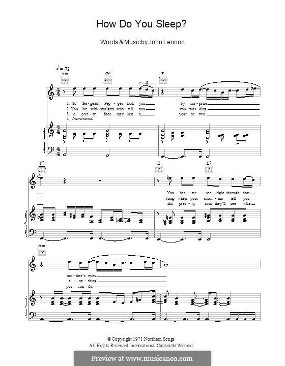 How Do You Sleep?: Für Stimme und Klavier (oder Gitarre) by John Lennon