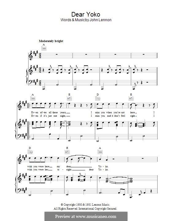 Dear Yoko: Für Stimme und Klavier (oder Gitarre) by John Lennon