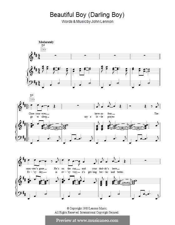 Beautiful Boy (Darling Boy): Für Stimme und Klavier (oder Gitarre) by John Lennon