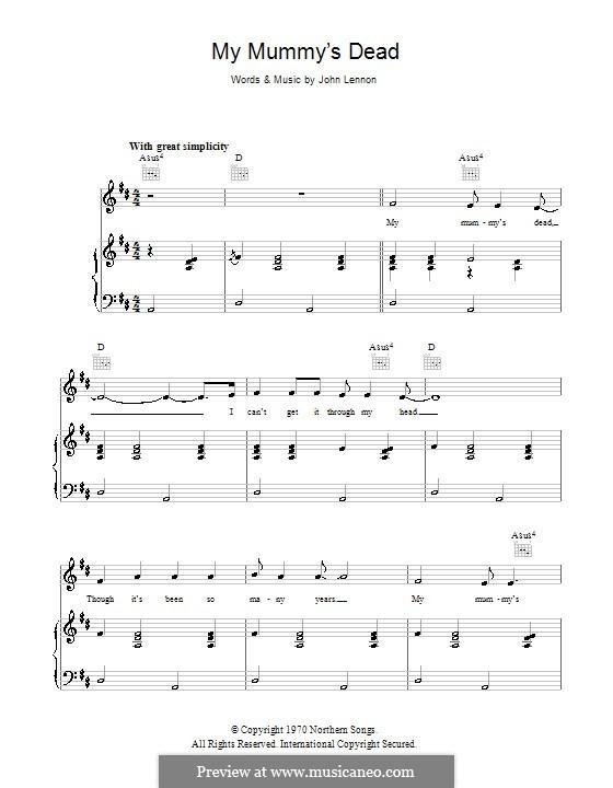 My Mummy's Dead: Für Stimme und Klavier (oder Gitarre) by John Lennon