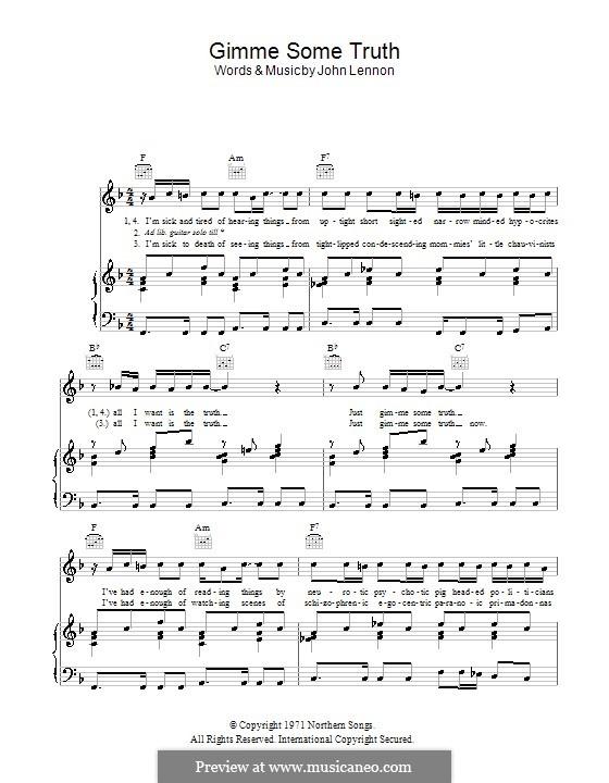 Gimme Some Truth: Für Stimme und Klavier (oder Gitarre) by John Lennon