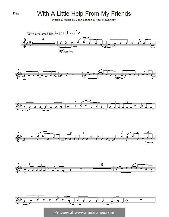 With a Little Help from My Friends (The Beatles): Für Flöte by John Lennon, Paul McCartney