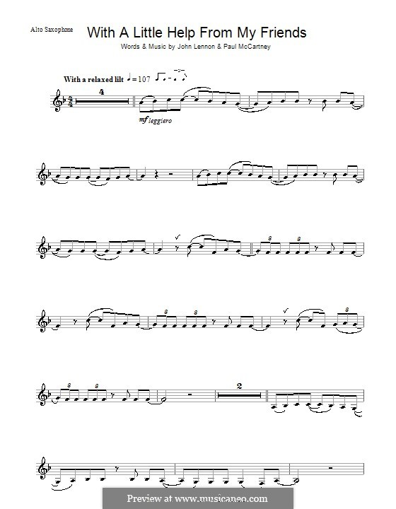 With a Little Help from My Friends (The Beatles): Für Altsaxophon by John Lennon, Paul McCartney