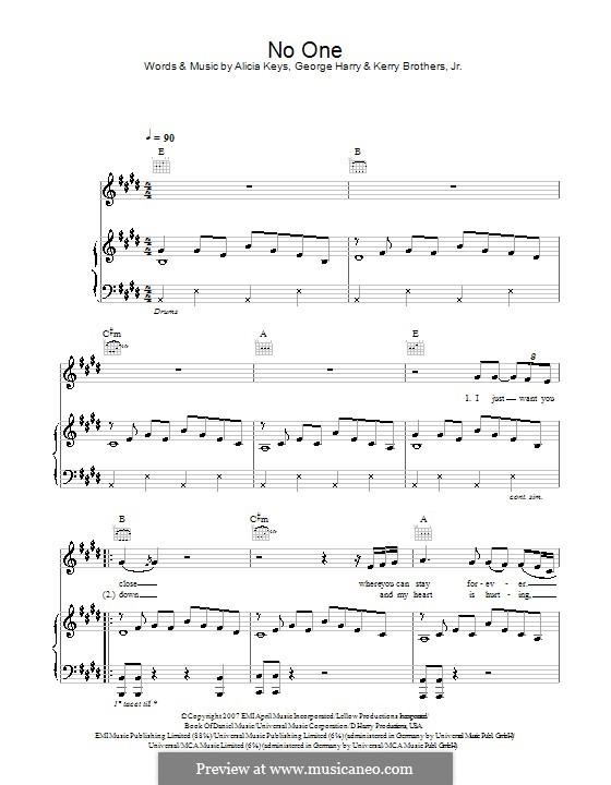 No One: Für Stimme und Klavier (oder Gitarre) by Alicia Keys, George Michael Harry, Kerry Brothers