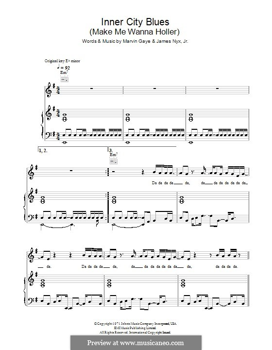 Inner City Blues (Make Me Wanna Holler): Für Stimme und Klavier (oder Gitarre) by James Nyx Jr., Marvin P. Gaye