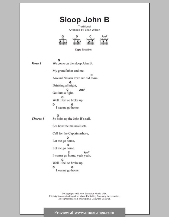 Sloop John B (The Beach Boys): Text und Akkorde by folklore