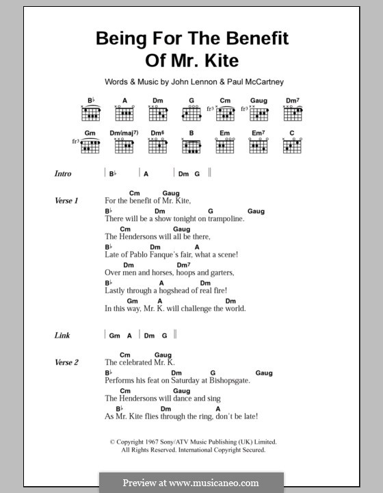 Being for the Benefit of Mr Kite (The Beatles): Text und Akkorde by John Lennon, Paul McCartney