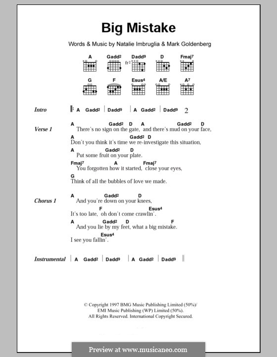 Big Mistake: Text und Akkorde by Mark Goldenberg, Natalie Imbruglia