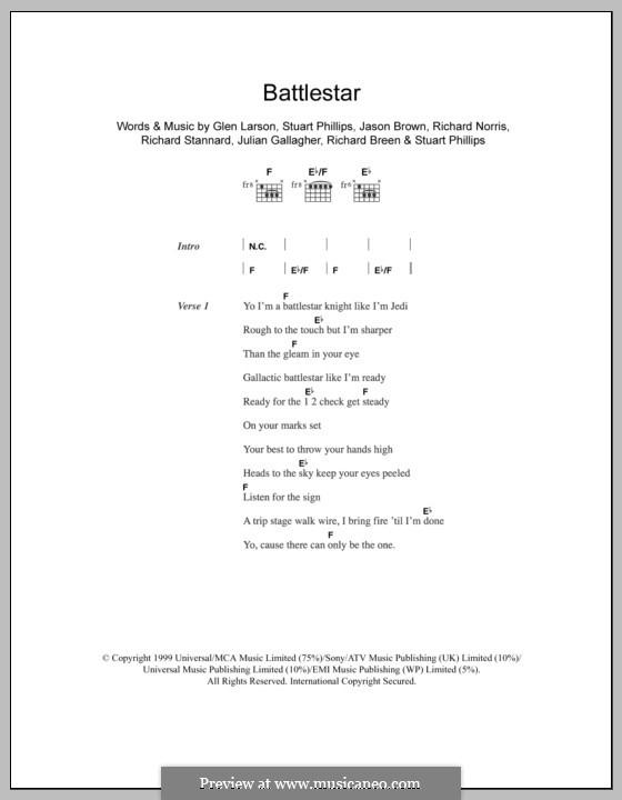 Battlestar (Five): Text und Akkorde by Glen Larson, Jason Brown, Julian Gallagher, Richard Breen, Richard Norris, Richard Stannard, Stuart Phillips