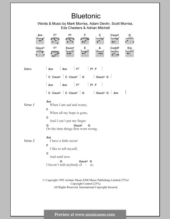 Bluetonic (The Bluetones): Text und Akkorde by Adam Devlin, Adrian Mitchell, Eds Chesters, Mark Morriss, Scott Morriss