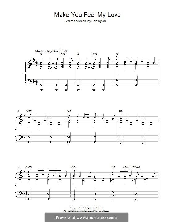 Make You Feel My Love: Für Klavier by Bob Dylan