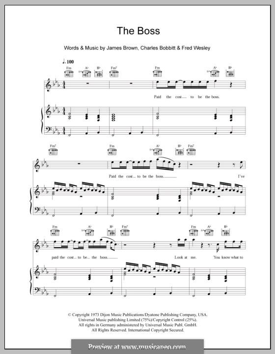 The Boss: Für Stimme und Klavier (oder Gitarre) by Charles Bobbitt, Fred Wesley, James Brown