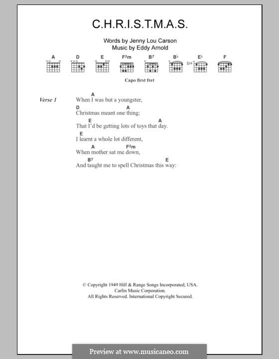C-H-R-I-S-T-M-A-S (Perry Como): Text und Akkorde by Eddy Arnold