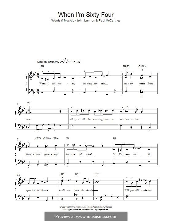When I'm Sixty-Four (The Beatles), for One Instrument: Für Klavier, leicht by John Lennon, Paul McCartney