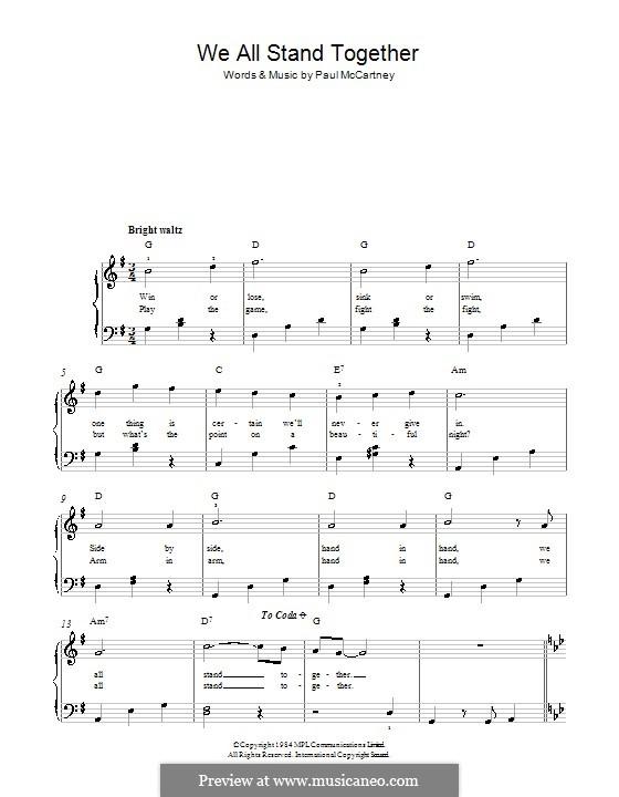 We All Stand Together: Für Klavier, leicht by Paul McCartney