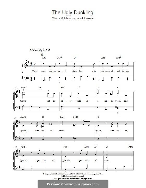 The Ugly Duckling: Einfache Noten für Klavier by Frank Loesser
