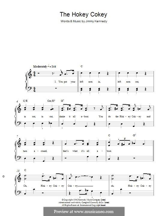 The Hokey Cokey: Einfache Noten für Klavier by Jimmy Kennedy