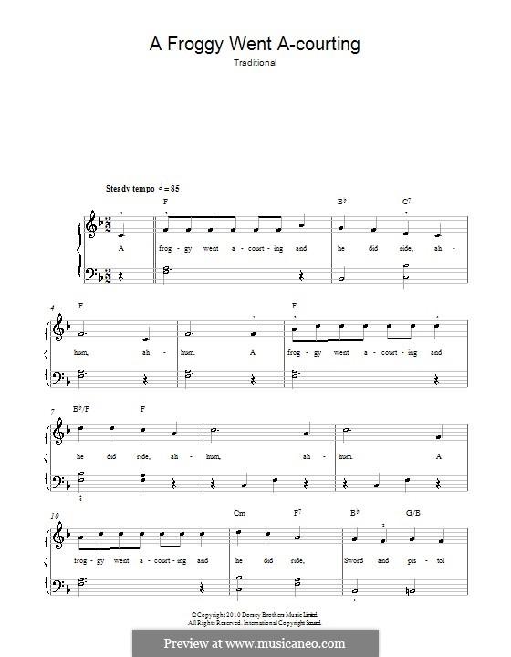 Frog Went A-Courtin': Für Klavier, leicht by folklore