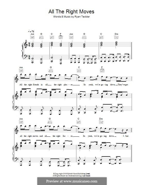 All the Right Moves (OneRepublic): Für Stimme und Klavier (oder Gitarre) by Ryan B Tedder