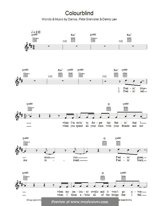 Colourblind: Melodie, Text und Akkorde by Darius, Deni Lew, Pete Glenister