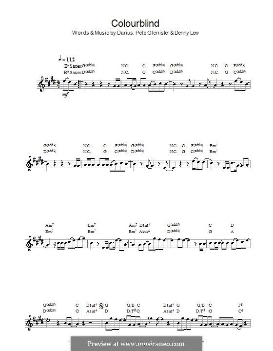 Colourblind: Für Saxophon by Darius, Deni Lew, Pete Glenister