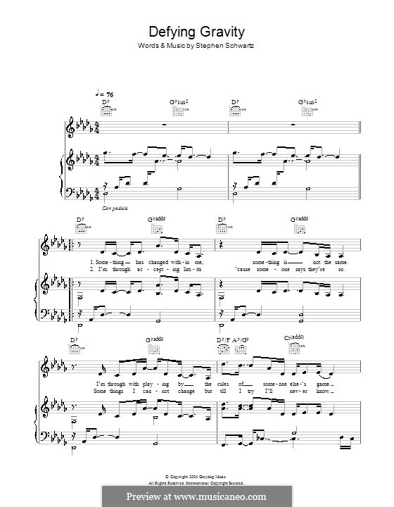 Defying Gravity (from the Broadway Musical Wicked): Für Stimme und Klavier (oder Gitarre) by Stephen Schwartz