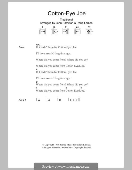Cotton-Eye Joe (Rednex): Text und Akkorde by folklore