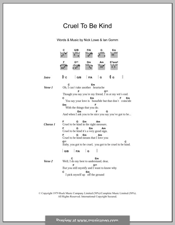 Cruel To Be Kind (Nick Lowe): Text und Akkorde by Ian Gomm, Nick Lowe