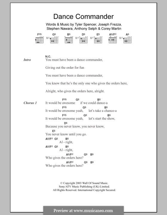 Dance Commander (Electric Six): Text und Akkorde by Anthony Selph, Corey Martin, Joseph Frezza, Stephen Nawara, Tyler Spencer