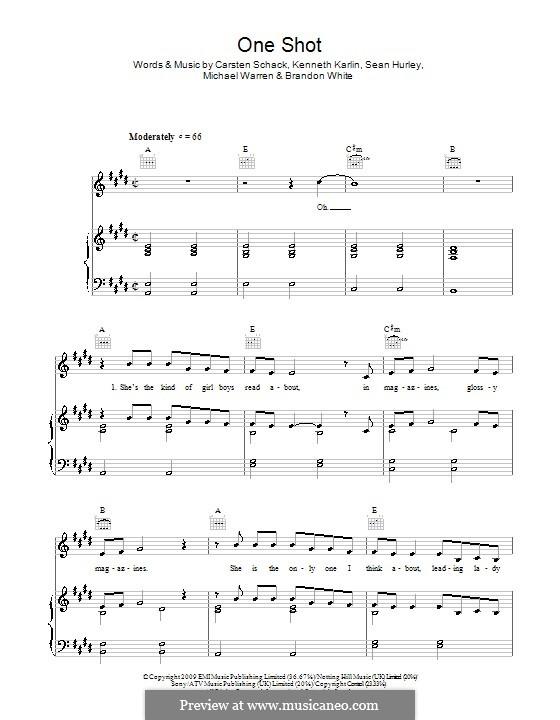One Shot (JLS): Für Stimme und Klavier (oder Gitarre) by Brandon White, Carsten Schack, Kenneth Karlin, Michael Warren, Sean Hurley